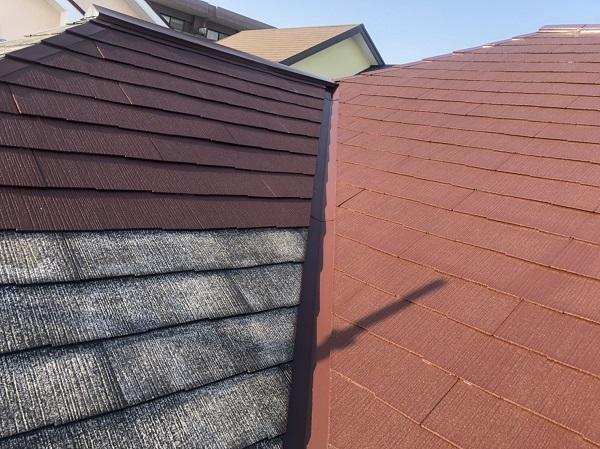 東京都町田市 屋根塗装 3度塗り スレート屋根は縁切りが必要です。 (1)