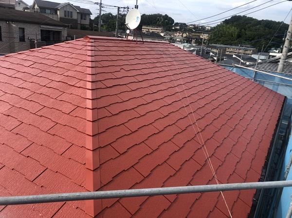 東京都町田市 屋根塗装 ひび割れ補修 赤い屋根にイメージチェンジ! (4)