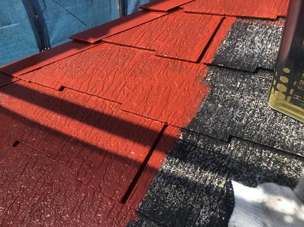東京都町田市 屋根塗装 ひび割れ補修 赤い屋根にイメージチェンジ! (2)